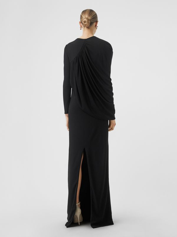 Cape-sleeve Stretch Jersey Gown in Black - Women | Burberry - cell image 2
