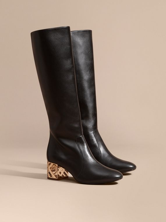 Check Heel Leather Knee-high Boots