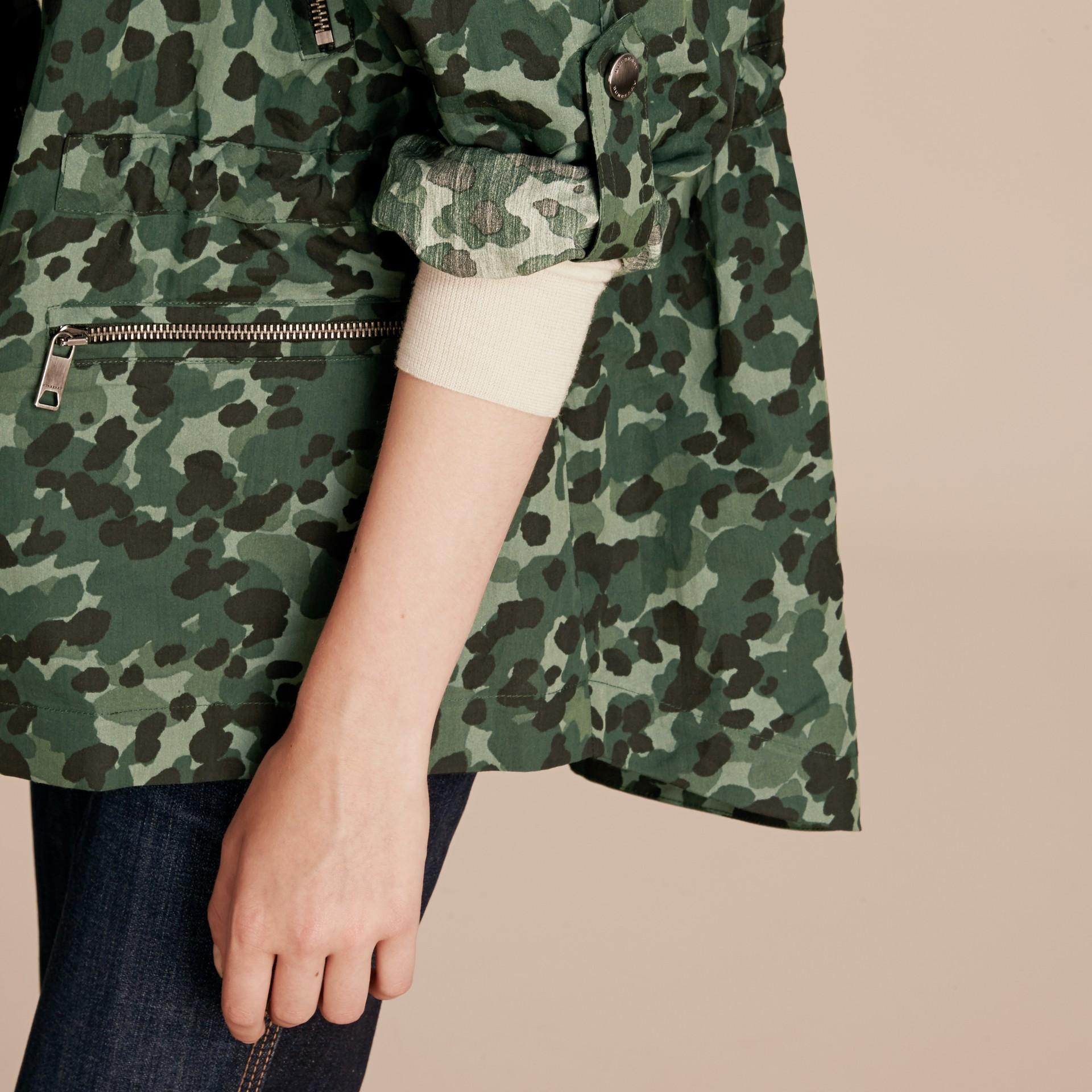 Deep bottle green Showerproof Cotton Parka Jacket with Packaway Hood - gallery image 6