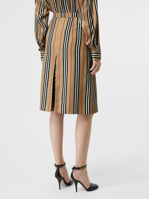Box Pleat Detail Icon Stripe A-line Skirt in Archive Beige - Women | Burberry - cell image 2