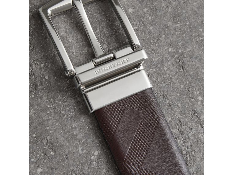 Reversible London Leather Belt in Dark Clove Brown/black - Men | Burberry Australia - cell image 1