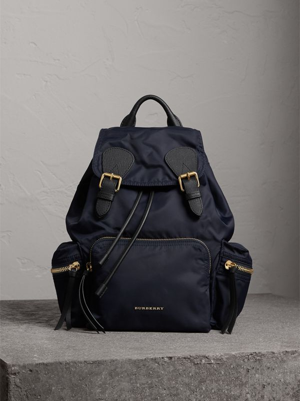 The Medium Rucksack in Technical Nylon and Leather in Ink Blue - Women | Burberry Canada - cell image 2