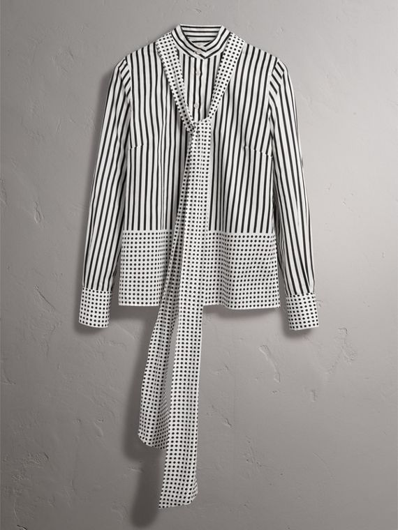 Spot and Stripe Print Cotton Tie-neck Shirt in Black - Women | Burberry Australia - cell image 3