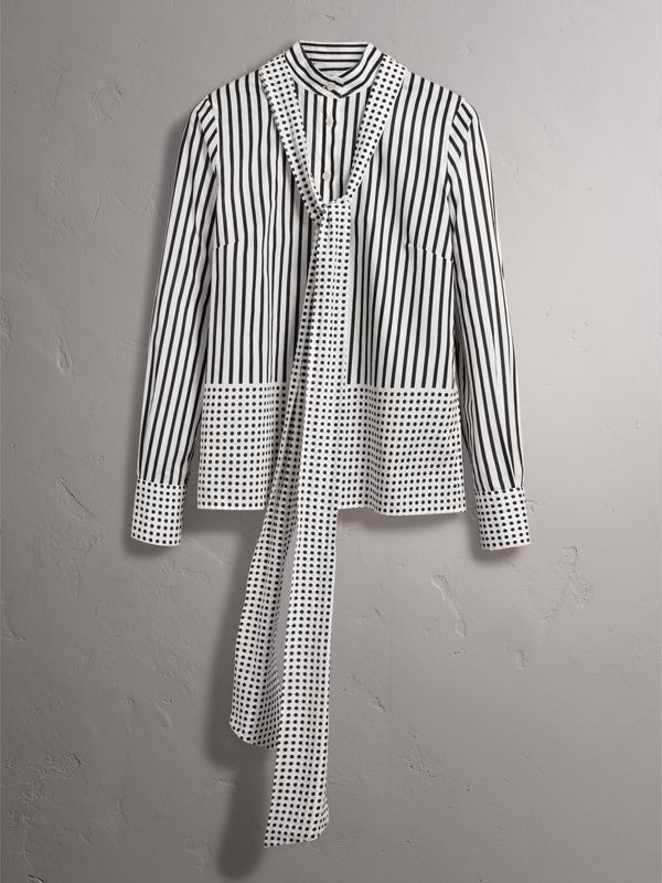 Spot and Stripe Print Cotton Tie-neck Shirt in Black - Women | Burberry United Kingdom - cell image 3