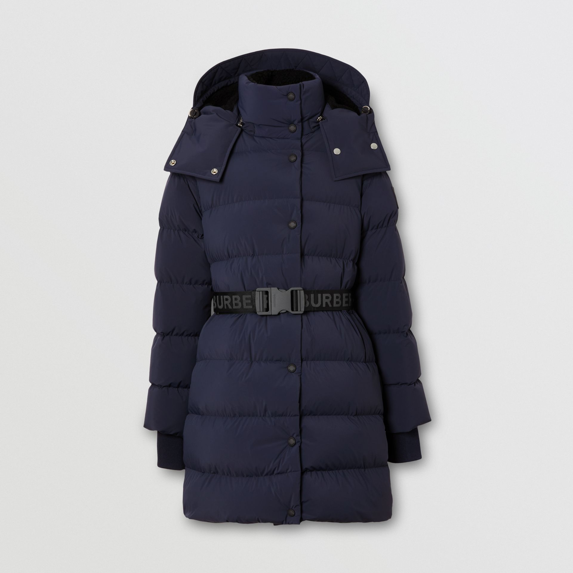 Detachable Hood Belted Puffer Coat in Navy - Women | Burberry Hong Kong S.A.R - gallery image 3