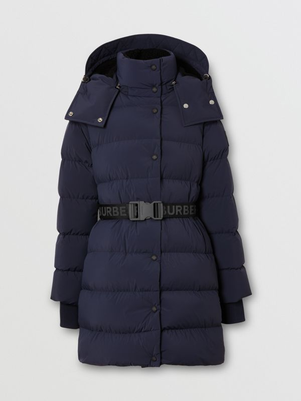 Detachable Hood Belted Puffer Coat in Navy - Women | Burberry Hong Kong S.A.R - cell image 3