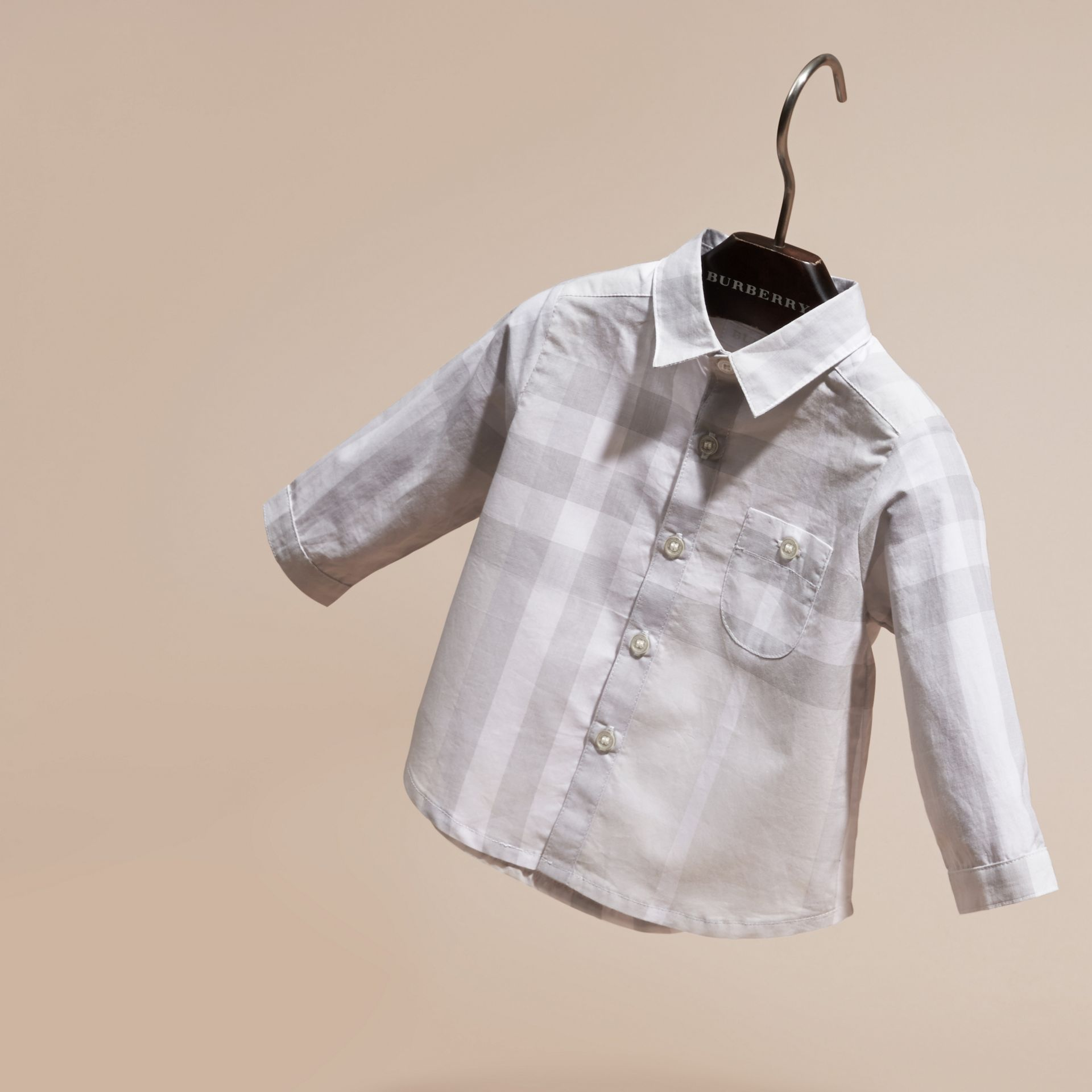 Washed Check Cotton Shirt Pale Grey - gallery image 3