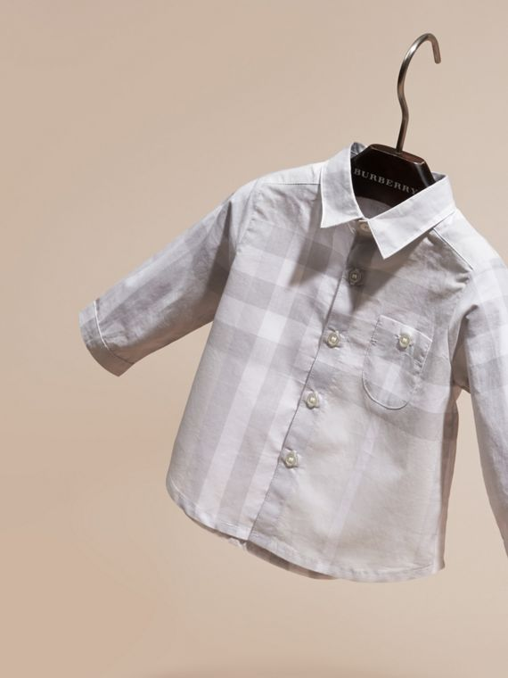 Washed Check Cotton Shirt Pale Grey - cell image 2