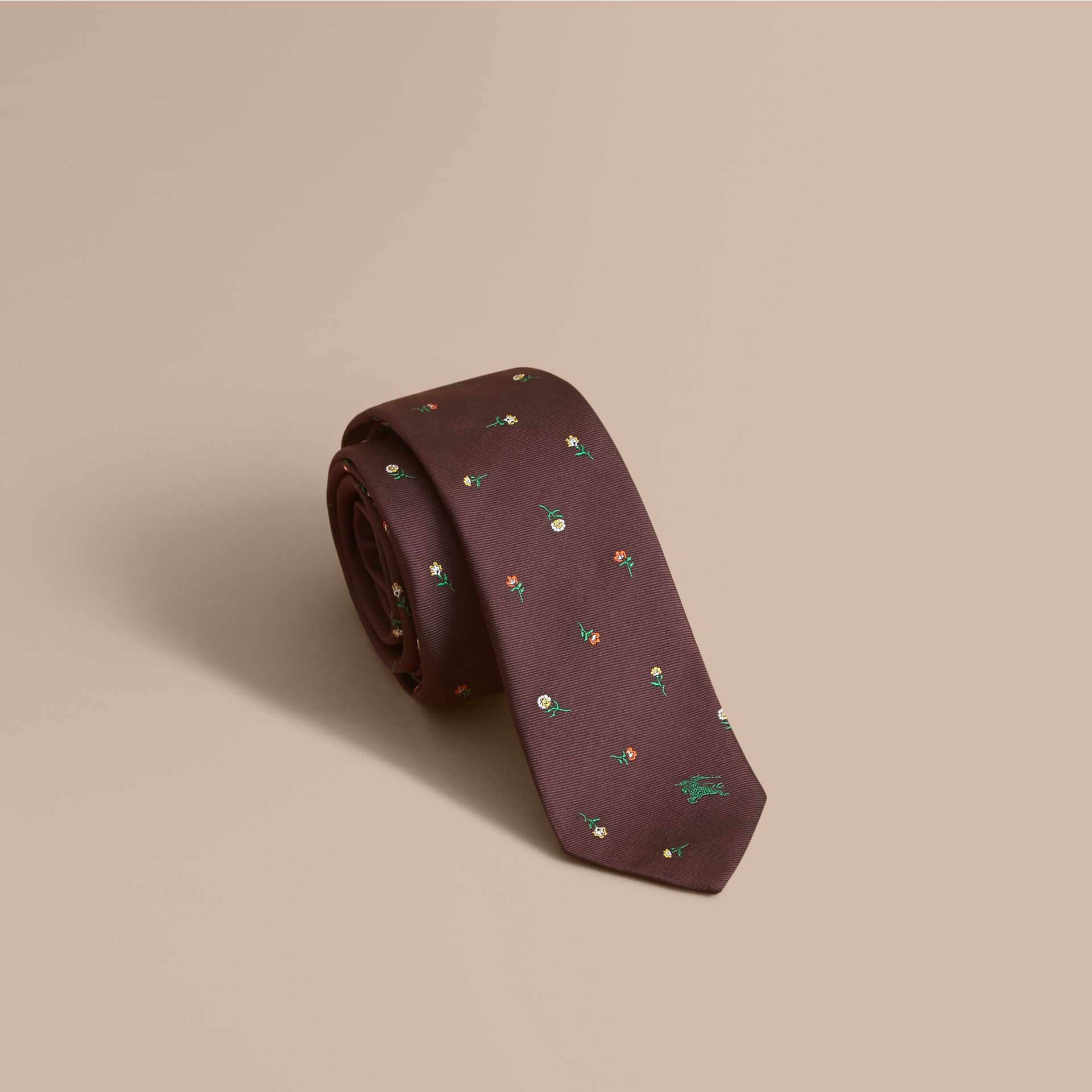 Slim Cut Floral Silk Jacquard Tie in Dark Cinnamon - Men | Burberry - gallery image 1