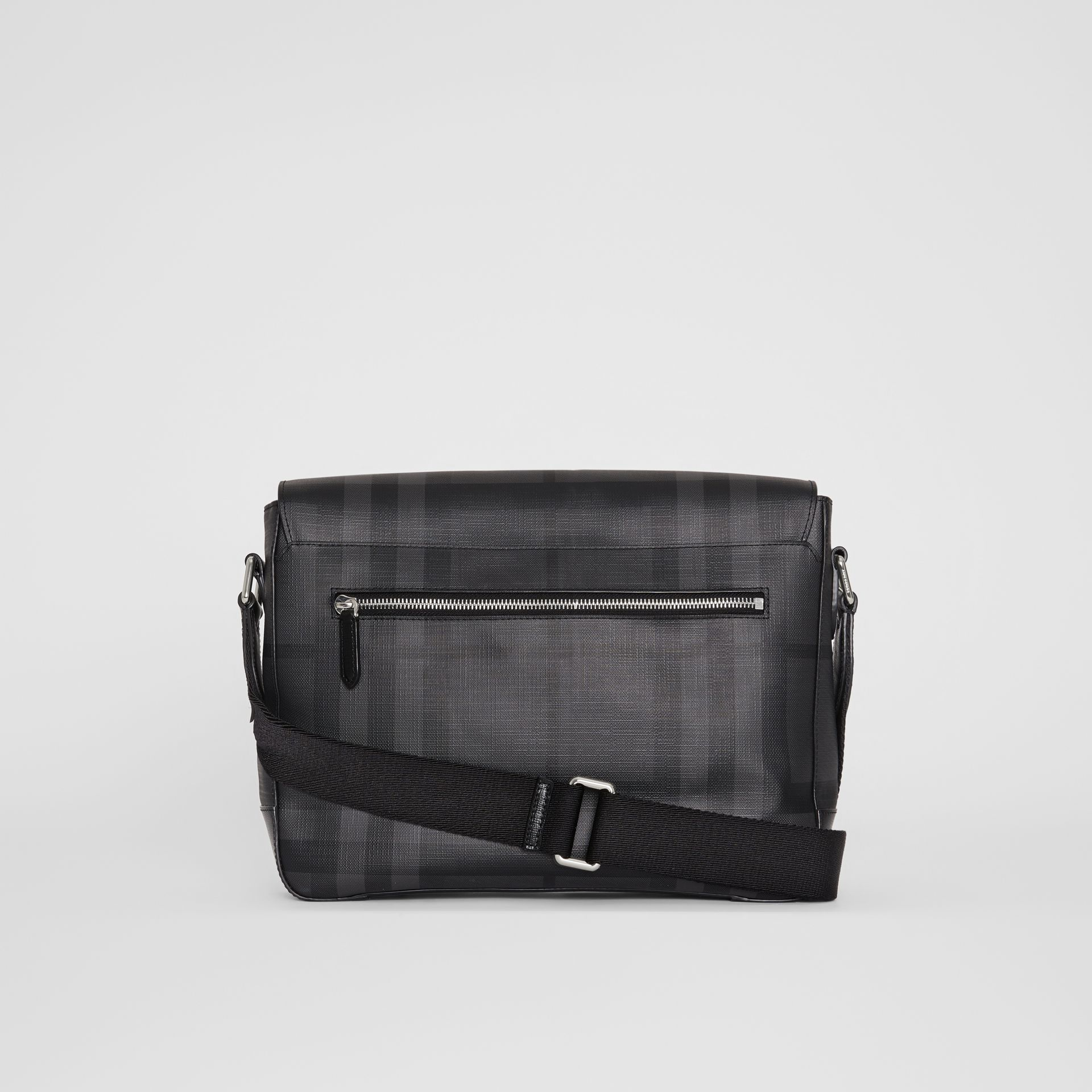 Medium Leather Trim London Check Messenger Bag in Charcoal/black - Men | Burberry - gallery image 7