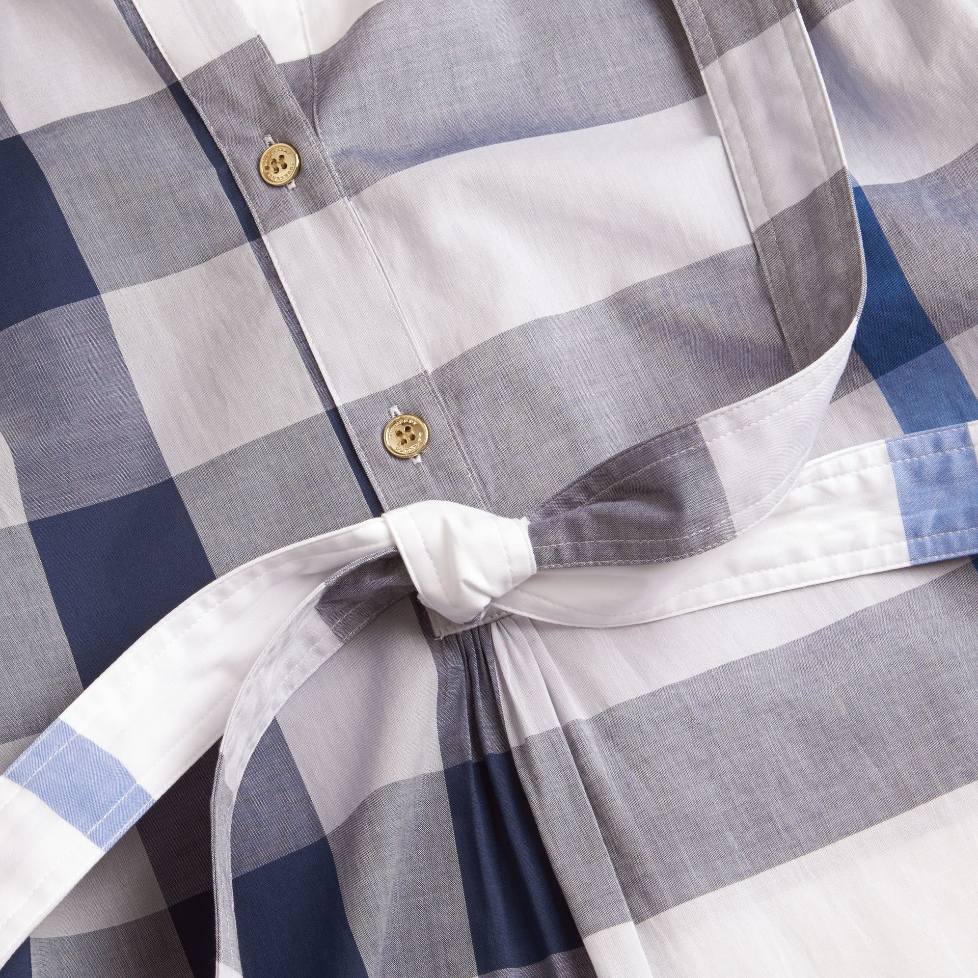 Ink blue Check Cotton Shirt Dress Ink Blue - gallery image 2