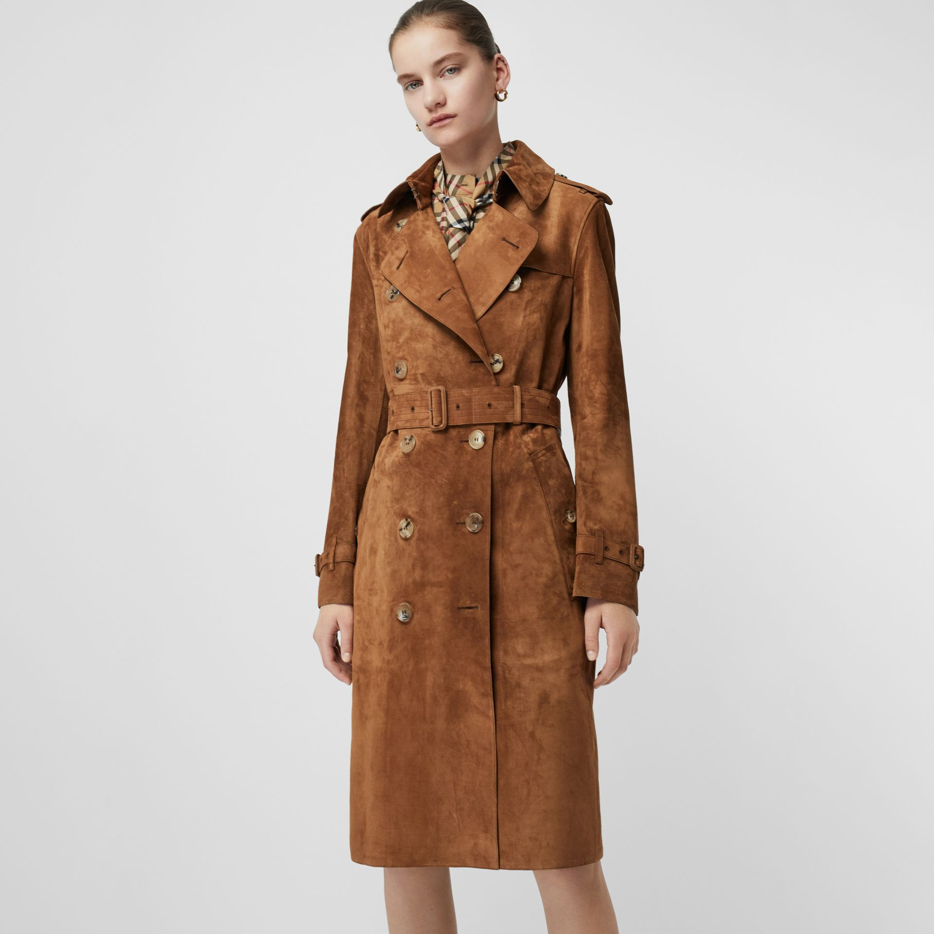 Suede Trench Coat in Sepia Brown - Women | Burberry Australia - gallery image 0