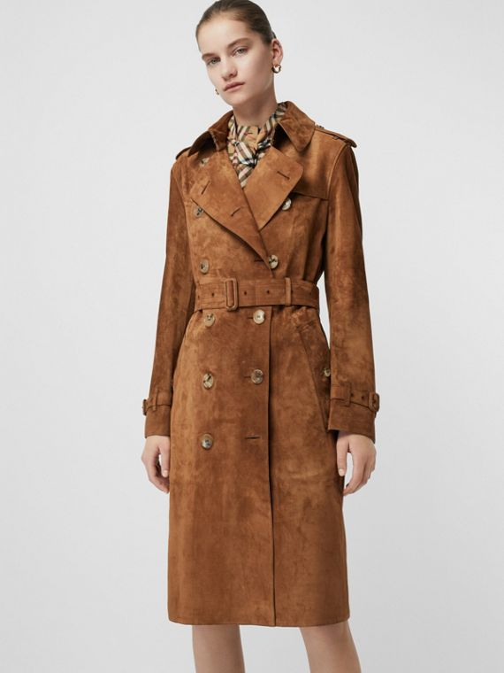 Trench coat in pelle scamosciata (Marrone Seppia)