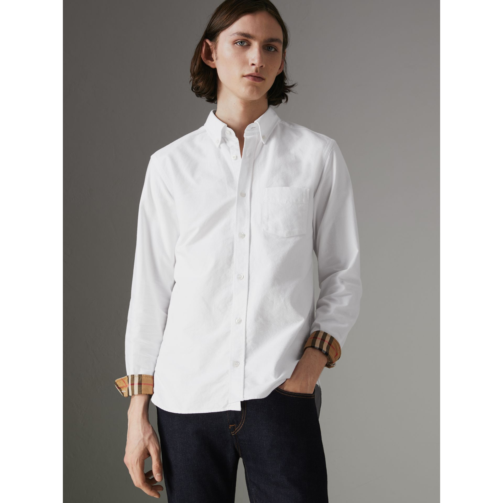 Check Cuff Cotton Oxford Shirt in White - Men | Burberry - gallery image 4