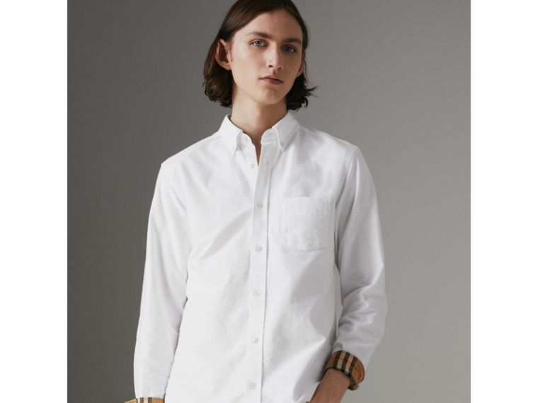 Check Cuff Cotton Oxford Shirt in White - Men | Burberry - cell image 4