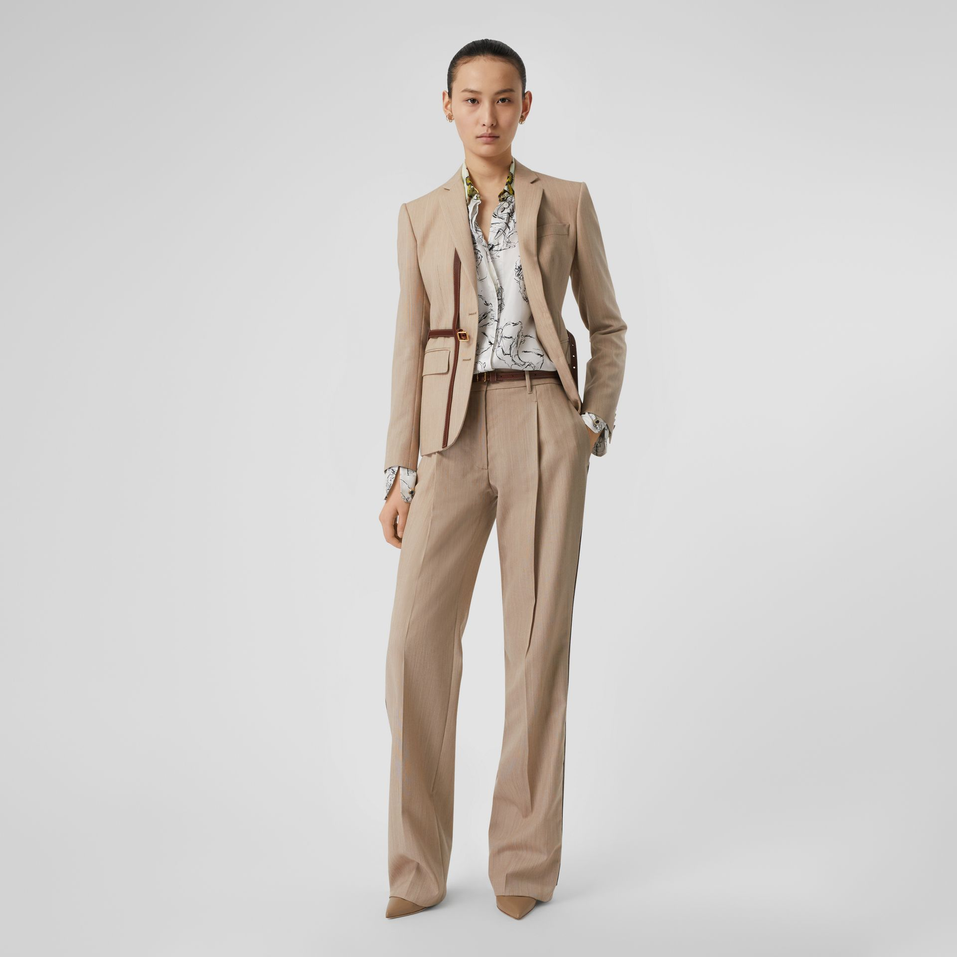Leather Stripe Wool Tailored Trousers in Camel Melange - Women | Burberry - gallery image 0