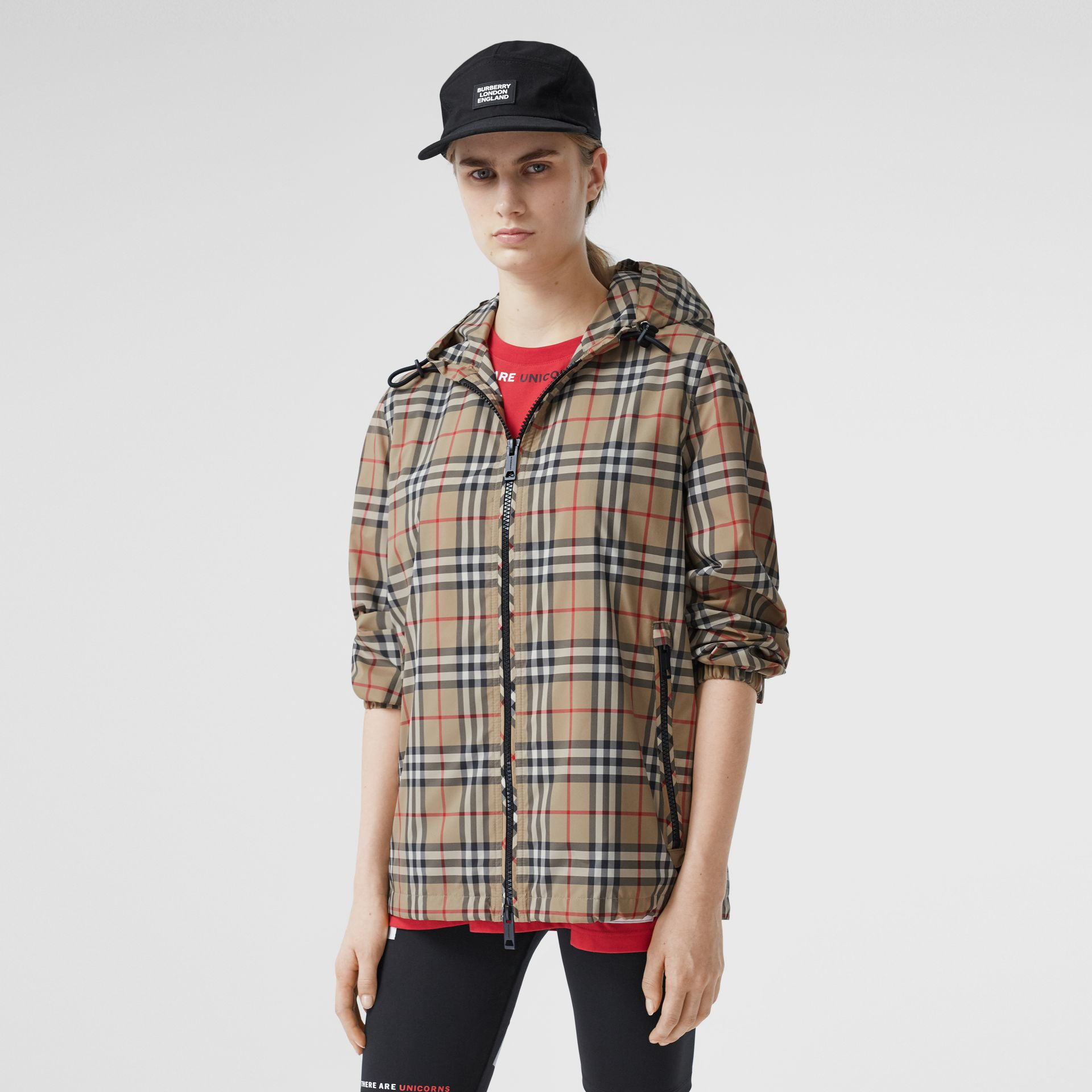 Vintage Check Recycled Polyester Hooded Jacket in Archive Beige - Women | Burberry - gallery image 0