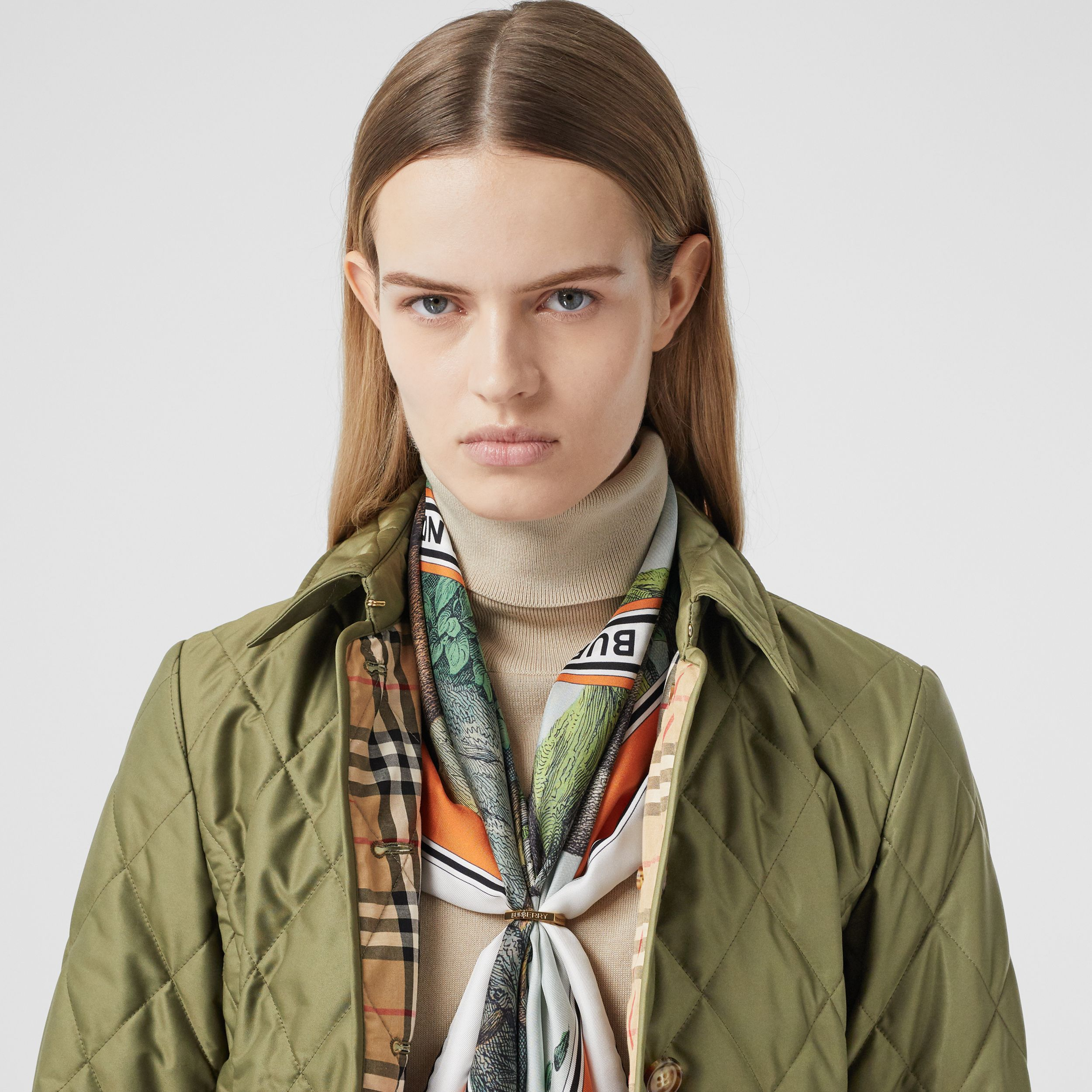 Diamond Quilted Thermoregulated Jacket in Olive Green - Women | Burberry - 3