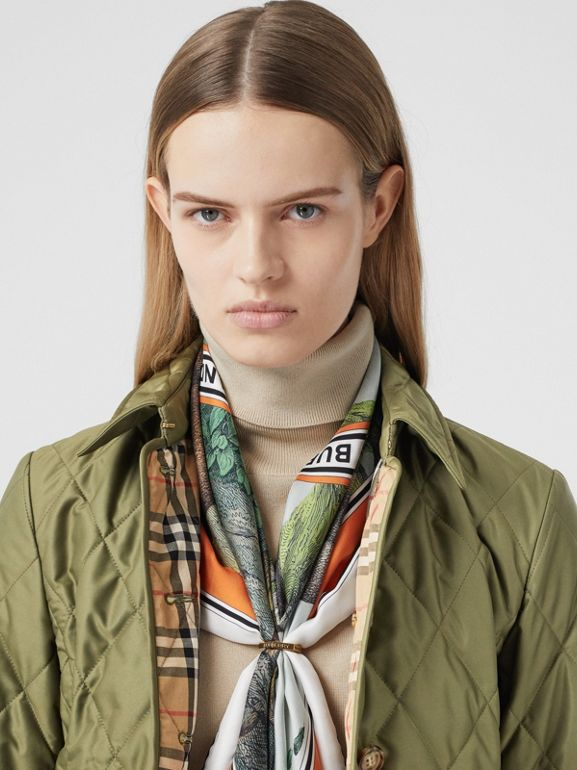 Diamond Quilted Thermoregulated Jacket in Olive Green - Women | Burberry - cell image 1