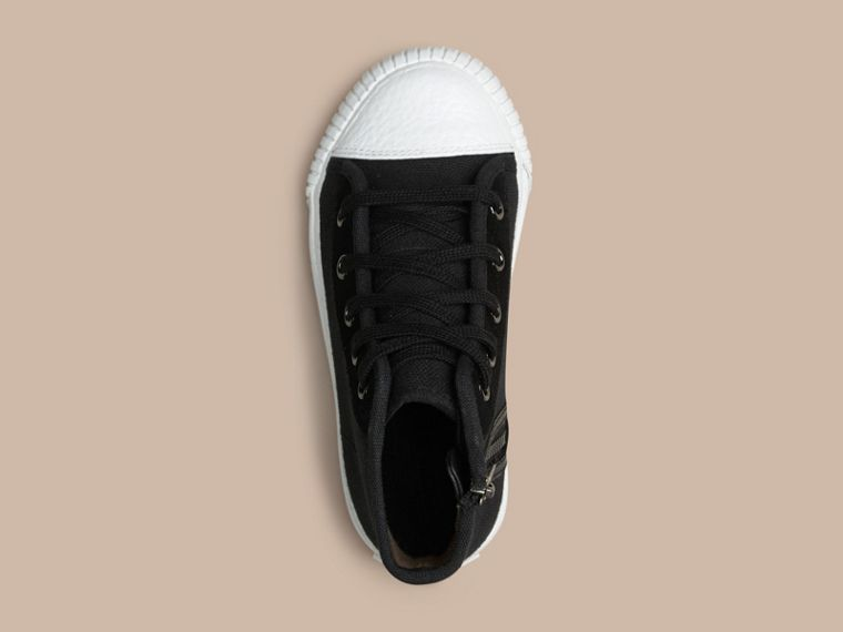 High-top Canvas Trainers in Black | Burberry Australia - cell image 1