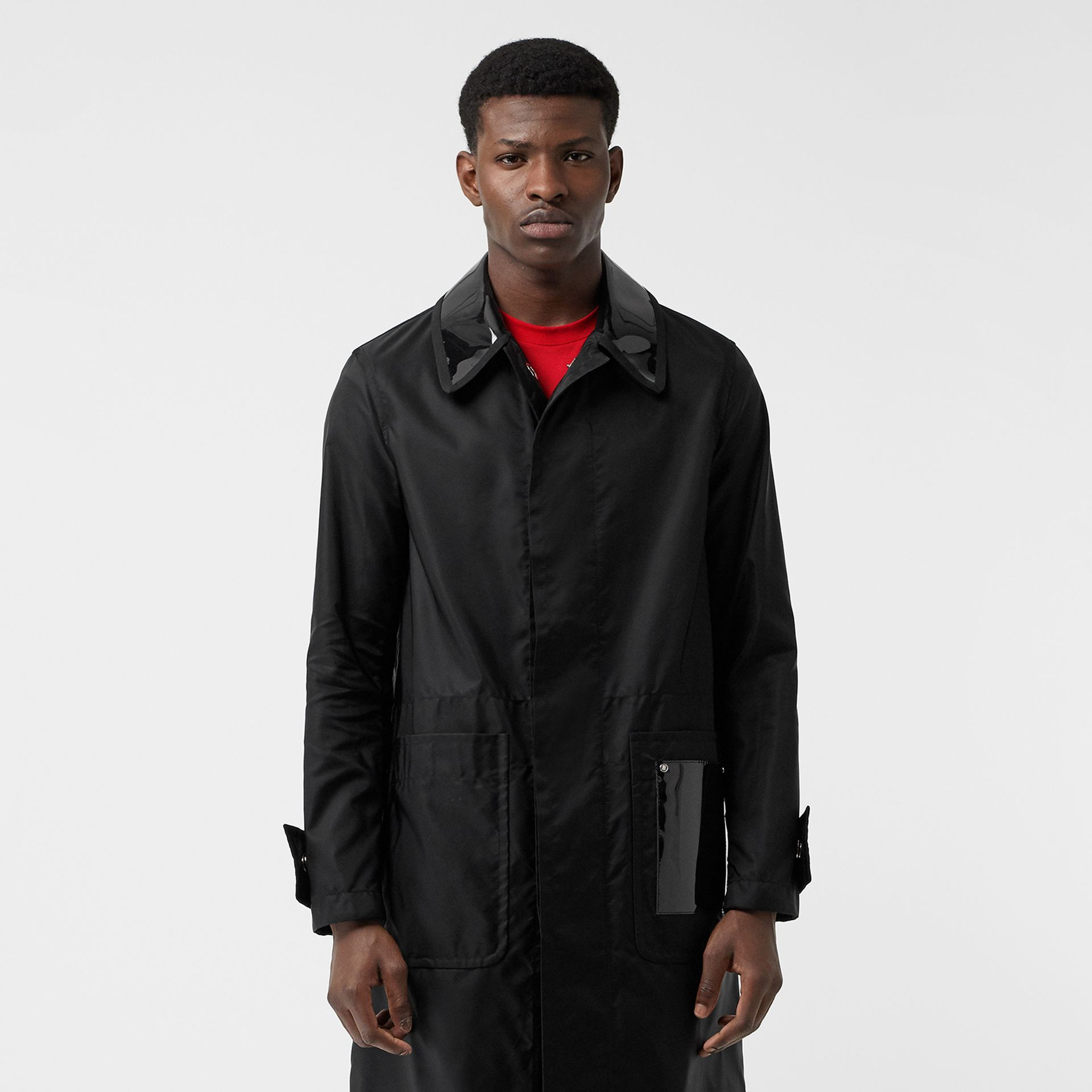 Double Collar Nylon Car Coat in Black | Burberry - gallery image 7