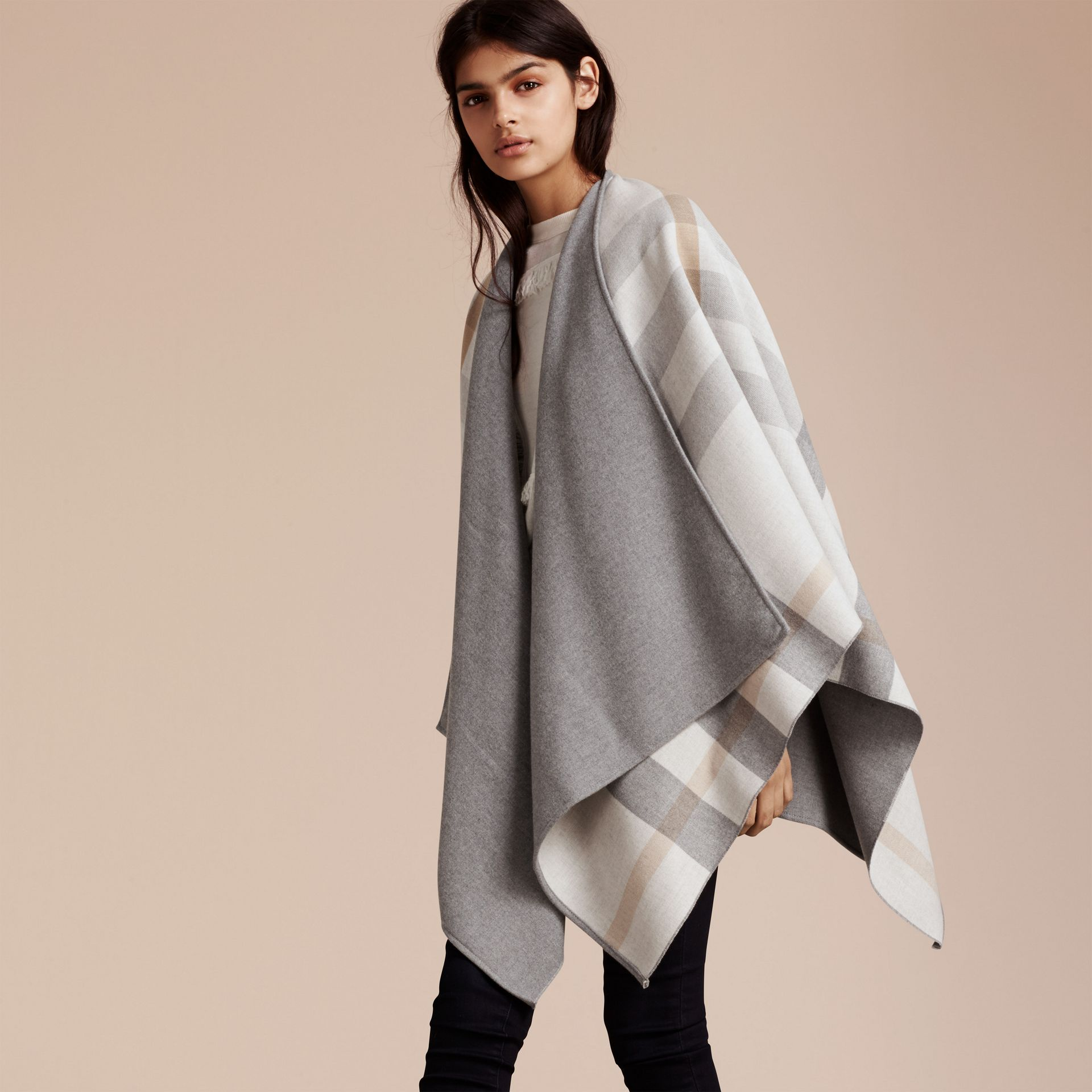 Reversible Check Merino Wool Poncho Light Grey - gallery image 3