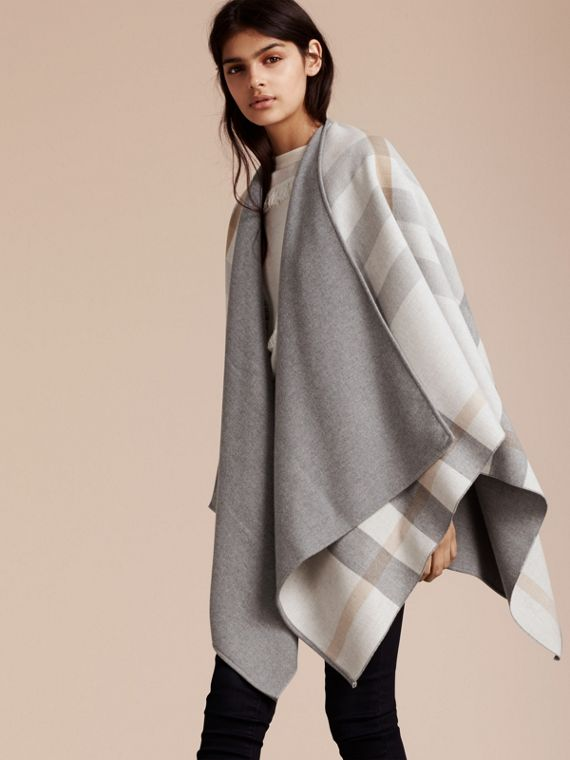 Reversible Check Merino Wool Poncho Light Grey - cell image 2