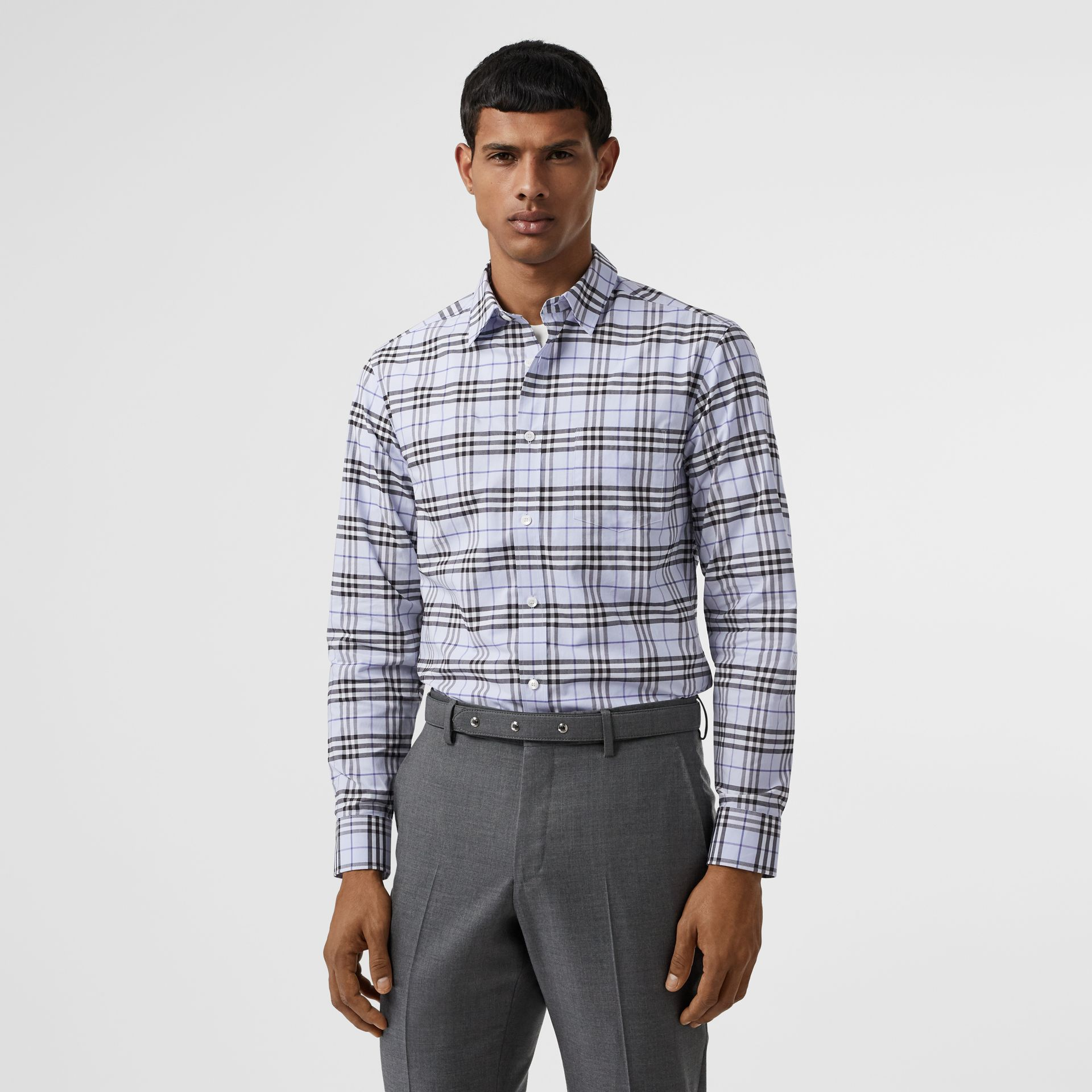 Check Stretch Cotton Shirt in Sky Blue - Men | Burberry - gallery image 4
