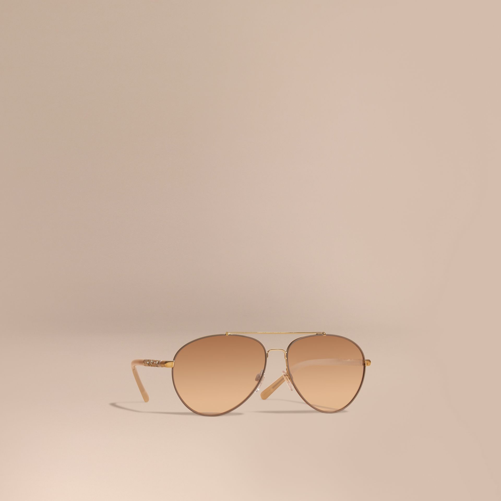 Check Detail Pilot Sunglasses in Pale Gold - Women | Burberry - gallery image 1