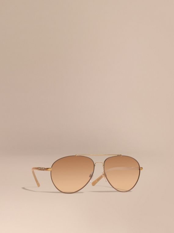 Check Detail Pilot Sunglasses in Pale Gold - Women | Burberry