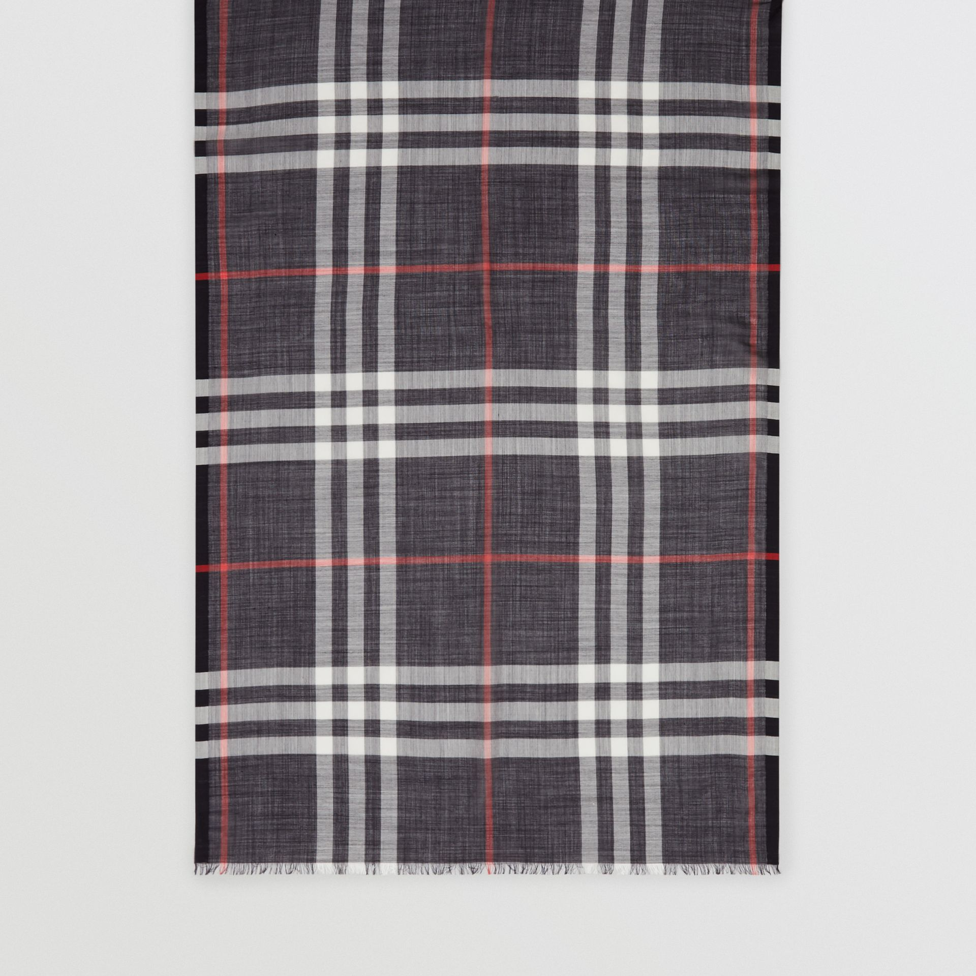 Lightweight Check Wool Silk Scarf in Navy | Burberry - gallery image 3