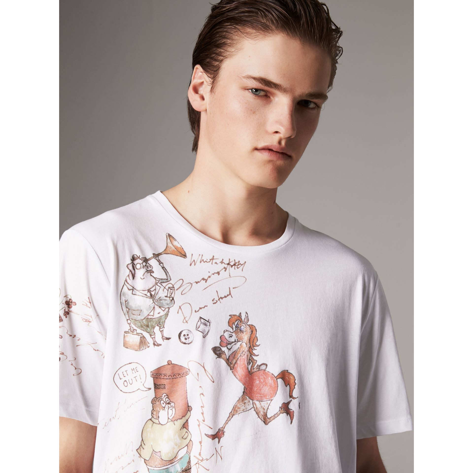 Sketch Print Cotton T-shirt in White - Men | Burberry - gallery image 1