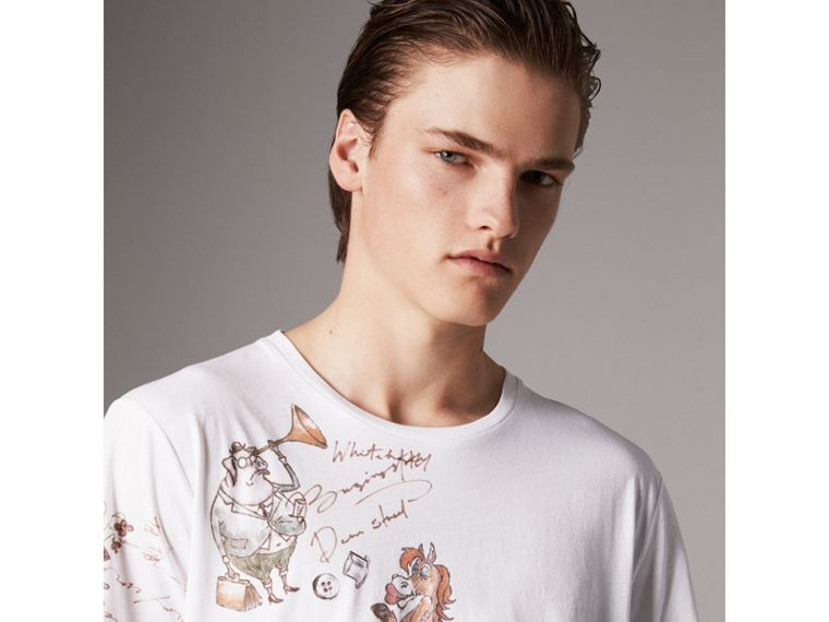 Sketch Print Cotton T-shirt in White - Men | Burberry United States - cell image 1