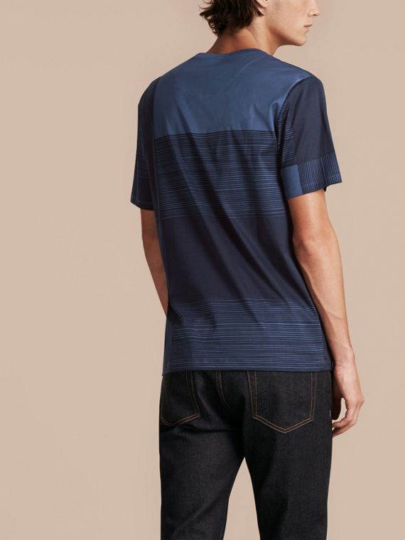 Navy T-shirt in cotone con motivo check stampato Navy - cell image 2