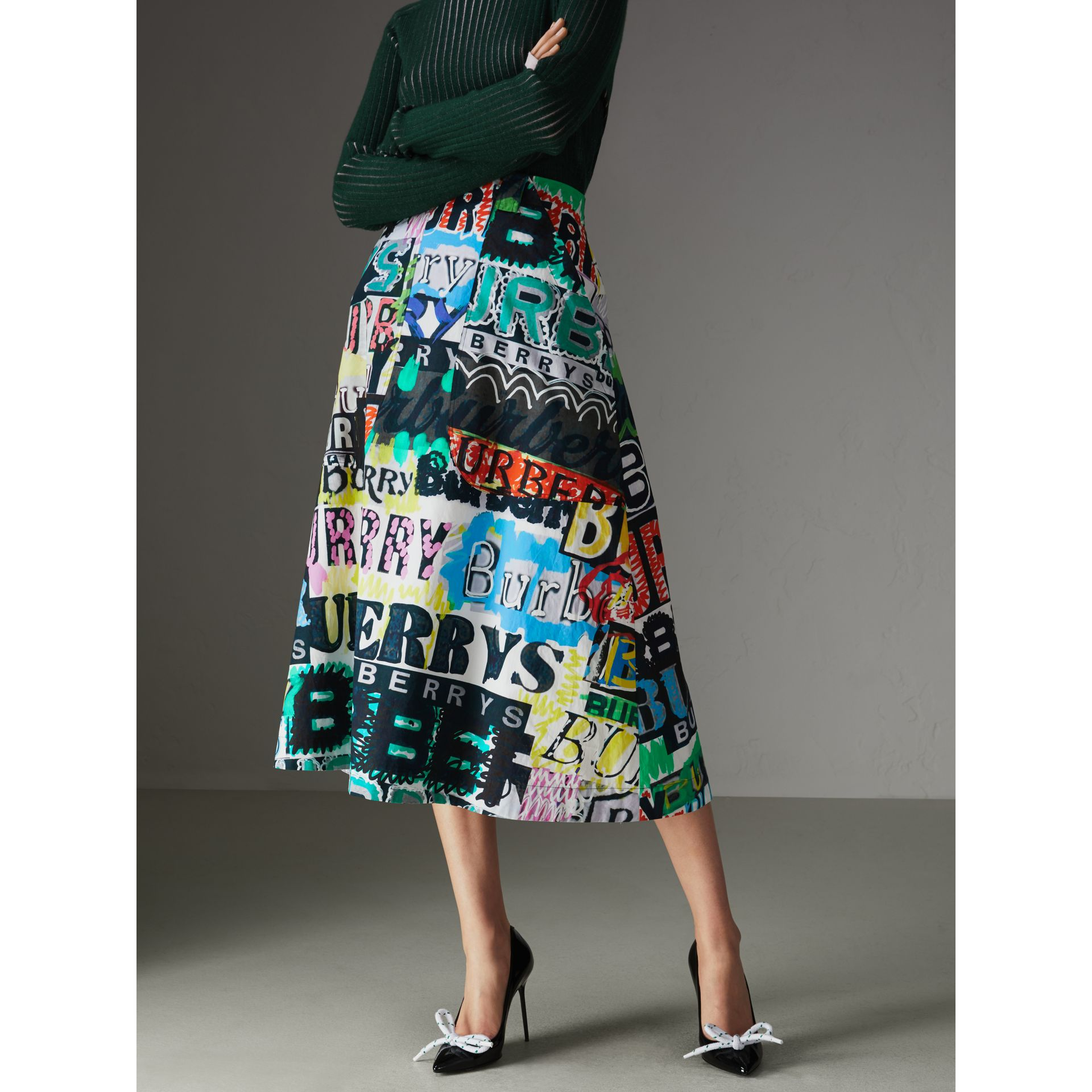 Logo Print Cotton A-line Skirt in Multicolour - Women | Burberry - gallery image 4
