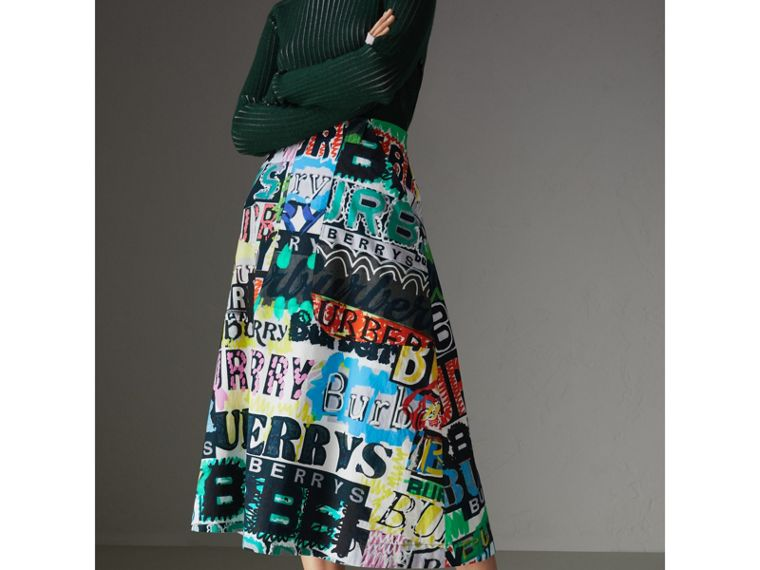Logo Print Cotton A-line Skirt in Multicolour - Women | Burberry - cell image 4