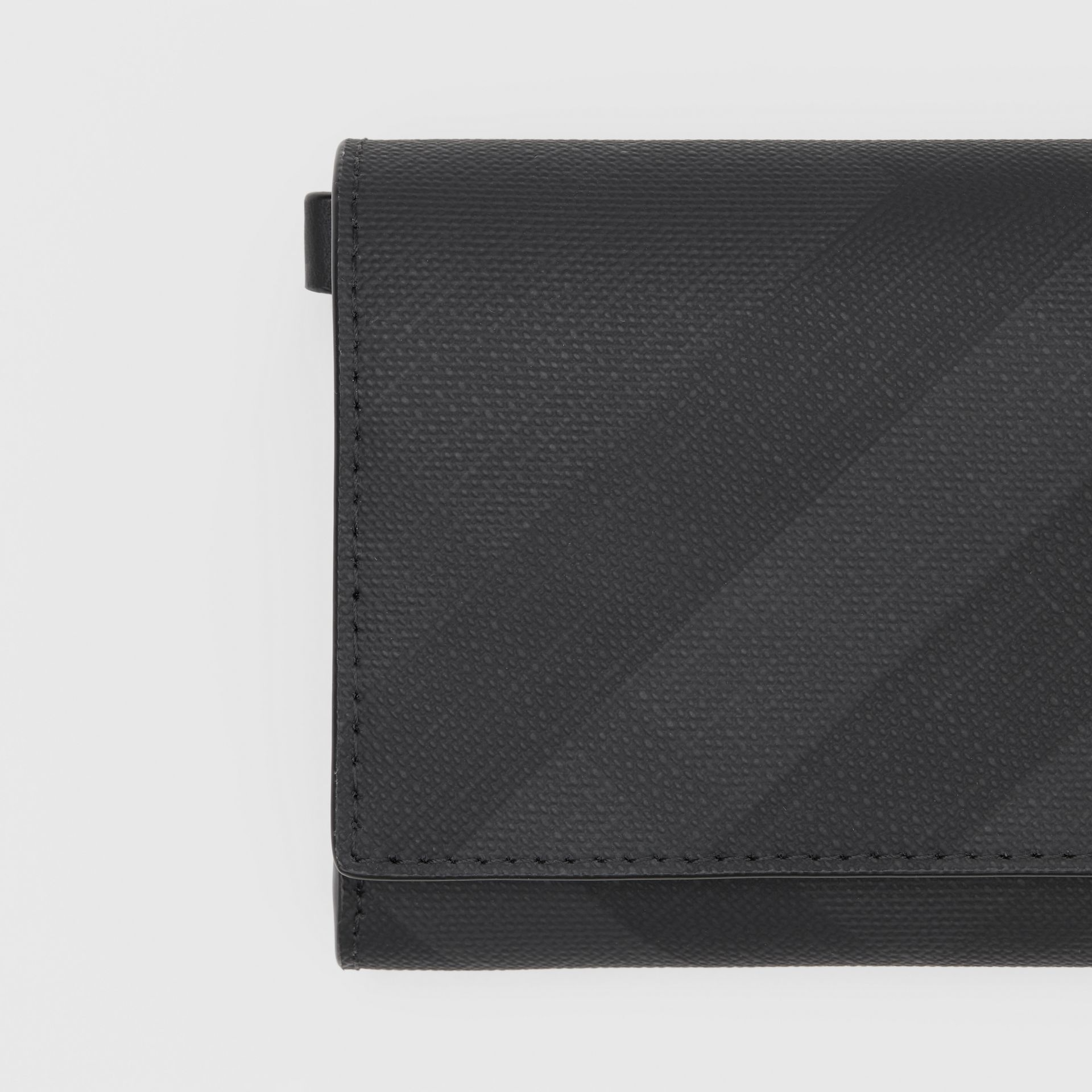 Small London Check Wallet with Detachable Strap in Dark Charcoal | Burberry Australia - gallery image 1