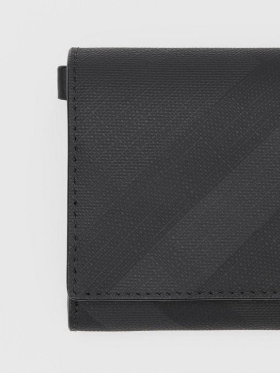Small London Check Wallet with Detachable Strap in Dark Charcoal | Burberry Australia - cell image 1