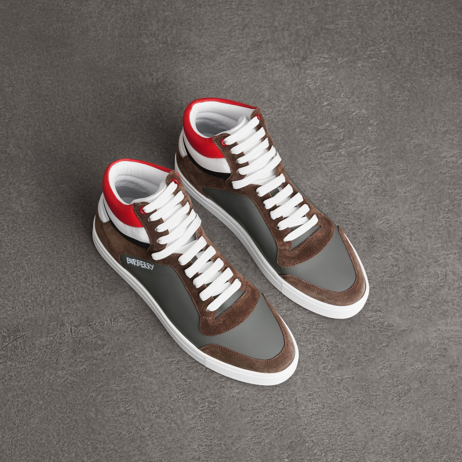 Suede and Leather High-top Sneakers in Steel Grey - Men | Burberry - gallery image 0