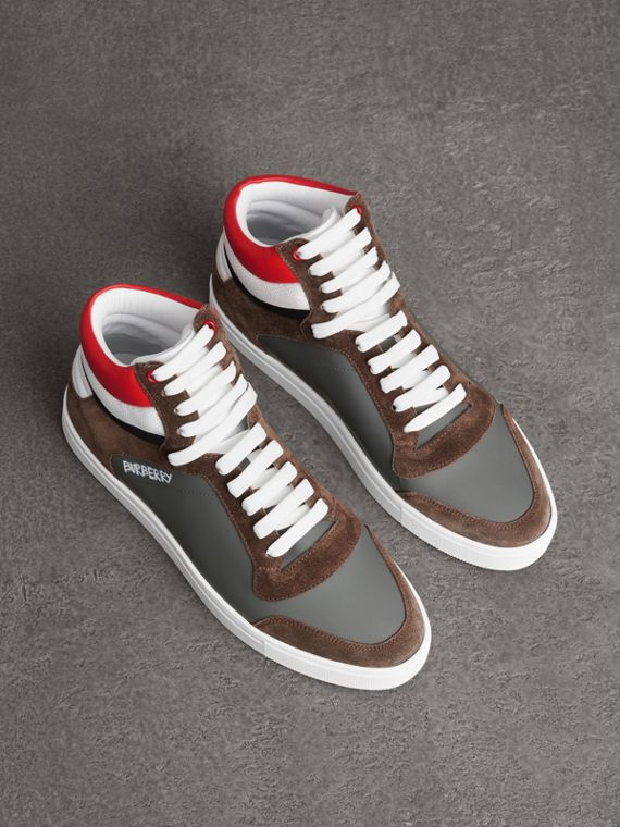 Suede and Leather High-top Sneakers in Steel Grey