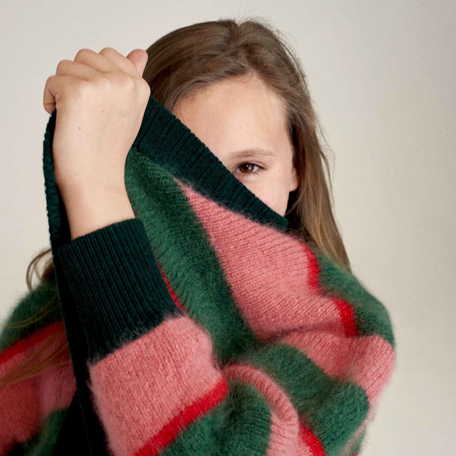 Tri-tone Striped Mohair Blend Cardigan in Dark Forest Green - Girl | Burberry Australia - gallery image 4