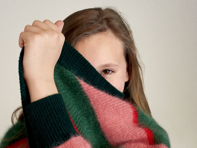 Tri-tone Striped Mohair Blend Cardigan in Dark Forest Green - Girl | Burberry Australia - cell image 4