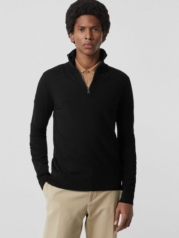 Merino Wool Half-zip Sweater in Black