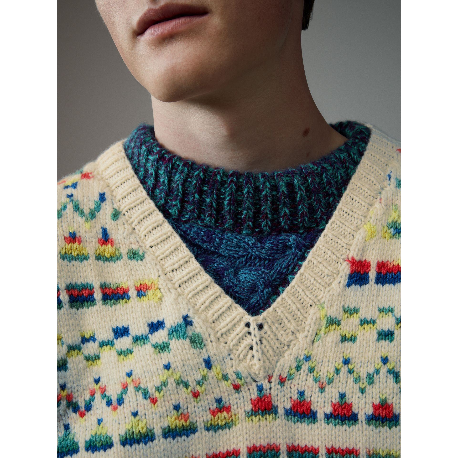 Geometric Fair Isle Wool Cropped Tank Top in Natural White - Men | Burberry - gallery image 1