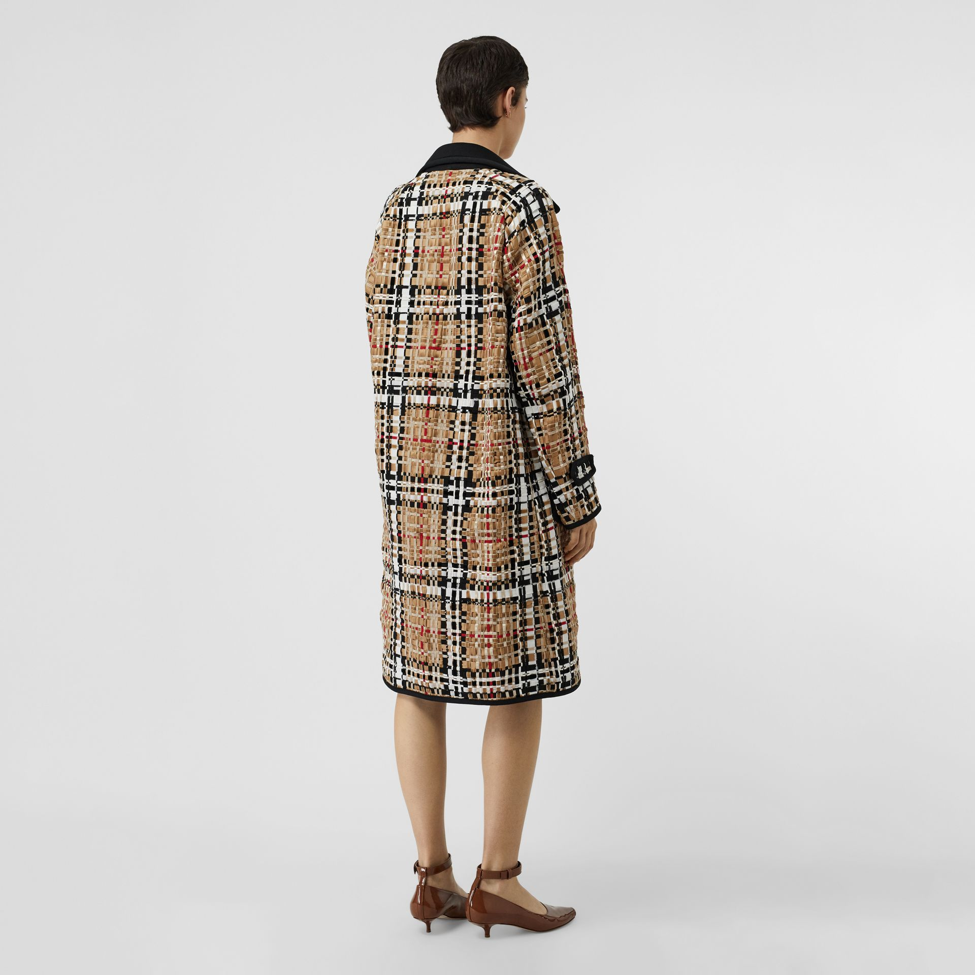 Check Basketweave Ribbon Coat in Archive Beige - Women | Burberry Australia - gallery image 2