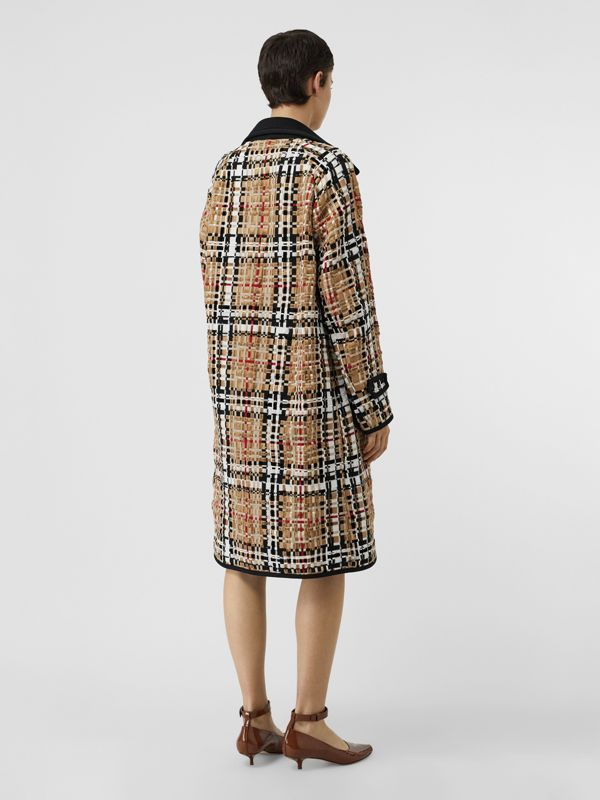 Check Basketweave Ribbon Coat in Archive Beige - Women | Burberry Australia - cell image 2