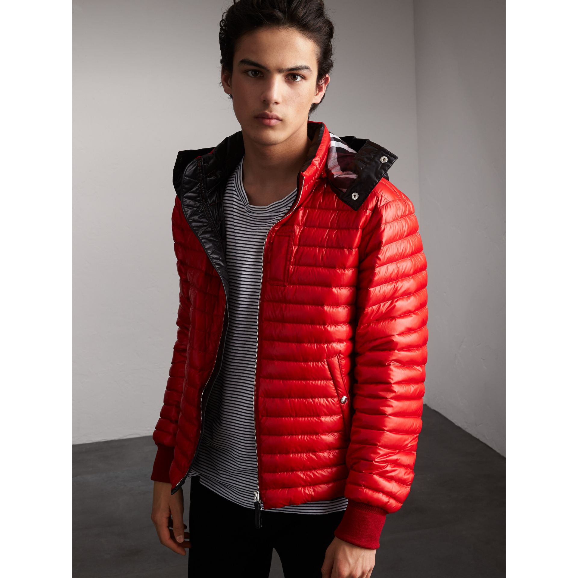 Packaway Hood Down-filled Puffer Jacket in Military Red - Men | Burberry Singapore - gallery image 1