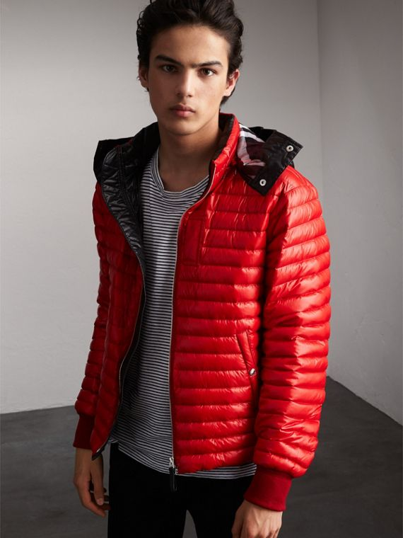 Packaway Hood Down-filled Puffer Jacket in Military Red - Men | Burberry Australia