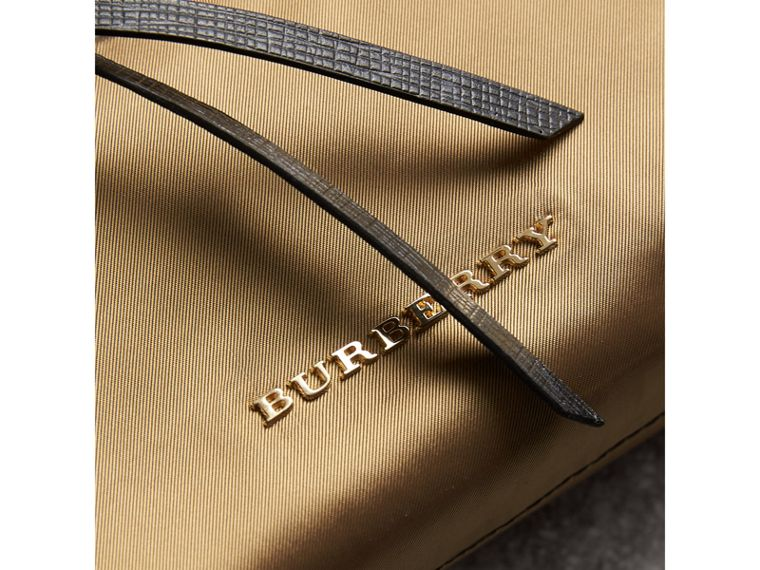 Large Zip-top Leather-trimmed Technical Nylon Pouch in Gold/black - Women | Burberry United Kingdom - cell image 1