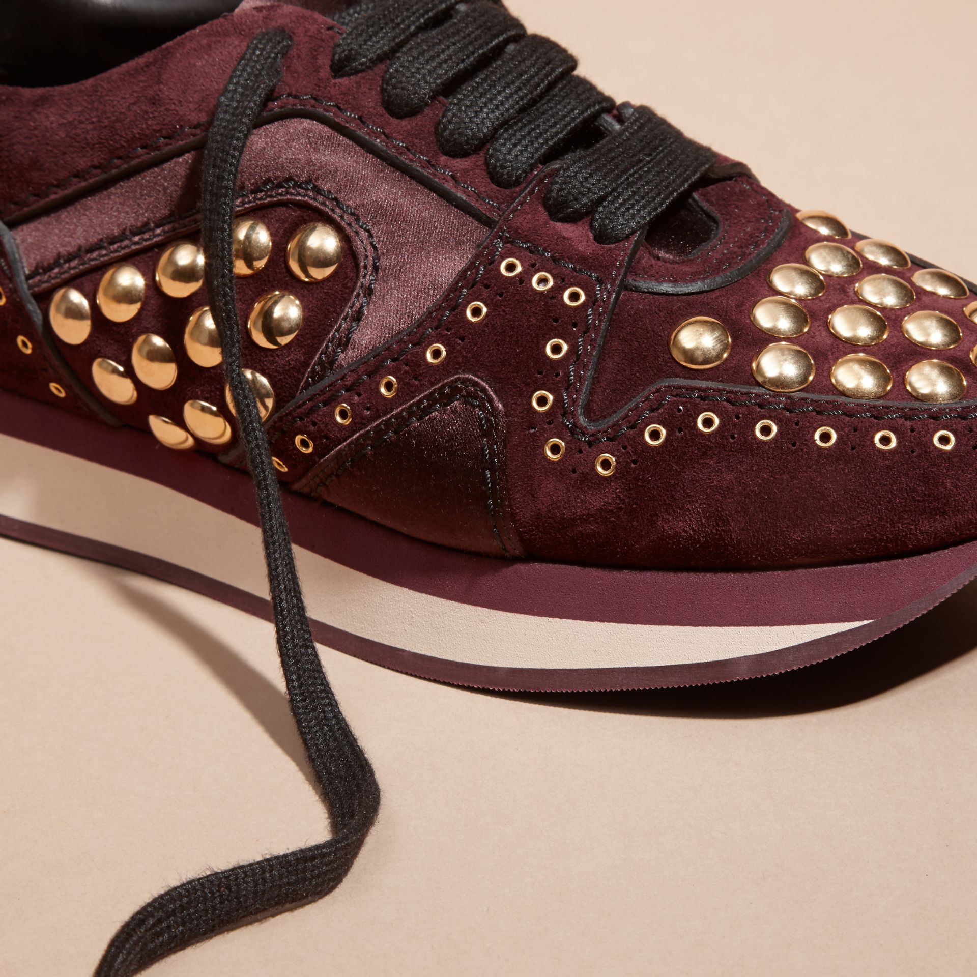 Dark mahogany The Field Sneaker in Studded Suede Dark Mahogany - gallery image 2